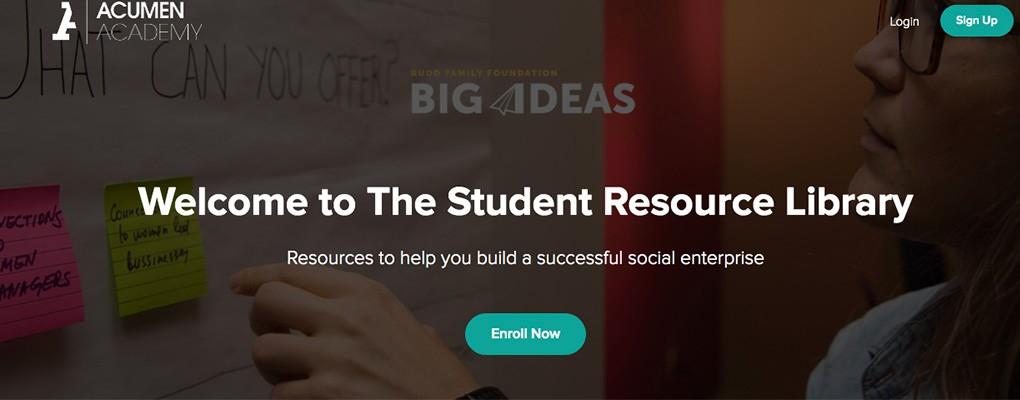 ACUMEN_Student resource webpage screenshot