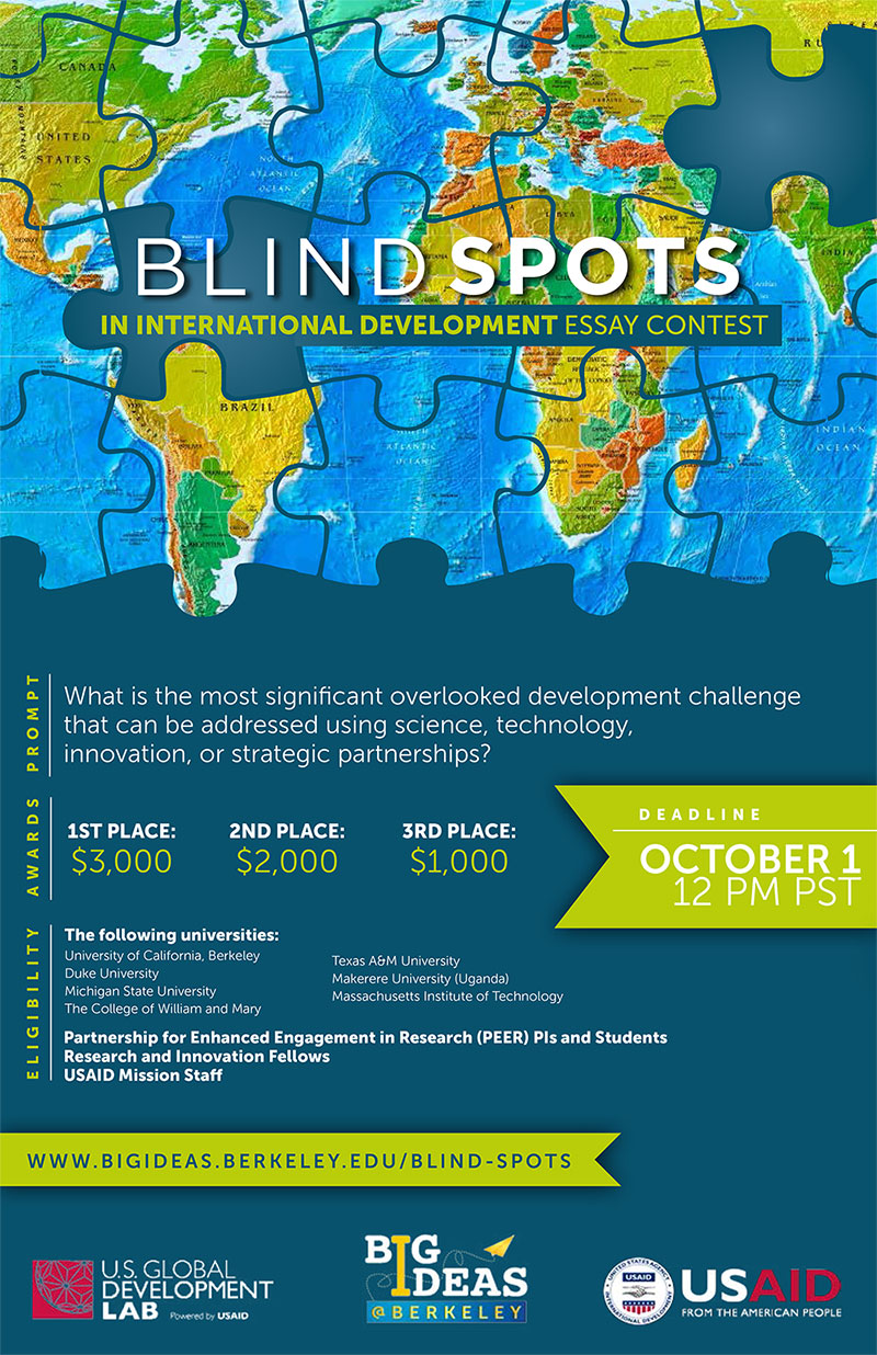 Big Ideas  Usaid And Big Ideasberkeley Launch Essay Competition On  Blind Spots Essay Contest Flyer